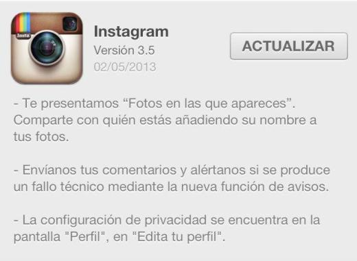 Instagram 3.5 en el App Store